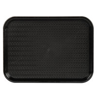 Choice 12 inch x 16 inch Black Plastic Fast Food Tray - 12/Pack