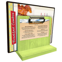 Menu Solutions WDMHS 3 inch x 7 inch Lime Wood Tabletop Menu Caddy with Clip