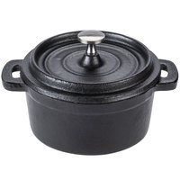 World Tableware CIS-25 9 oz. Round Miniature Cast Iron Dutch Oven with Lid   - 12/Case