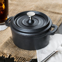 World Tableware CIS-25 9 oz. Mini Cast Iron Pot with Lid - 12/Case