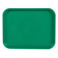 Choice 10 inch x 14 inch Green Plastic Fast Food Tray - 24/Case
