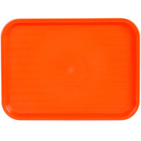Choice 12 inch x 16 inch Orange Plastic Fast Food Tray - 12/Pack