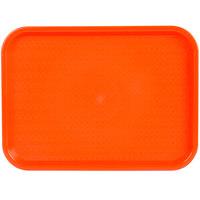 Choice 12 inch x 16 inch Orange Plastic Fast Food Tray - 12/Pack