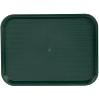Choice 12 inch x 16 inch Forest Green Plastic Fast Food Tray - 12/Pack