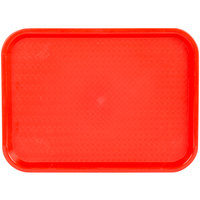 Choice 12 inch x 16 inch Red Plastic Fast Food Tray - 24/Case