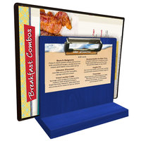 Menu Solutions WDMHS 3 inch x 7 inch True Blue Wood Tabletop Menu Caddy with Clip