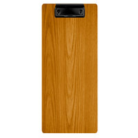 Menu Solutions WDCLIP-BA Country Oak 4 1/4 inch x 11 inch Customizable Wood Menu Clip Board