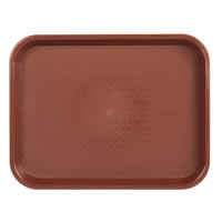 Choice 10 inch x 14 inch Burgundy Plastic Fast Food Tray - 12/Pack