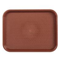 Choice 10 inch x 14 inch Burgundy Plastic Fast Food Tray - 12/Pack
