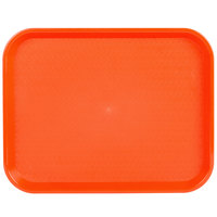 Choice 14 inch x 18 inch Orange Plastic Fast Food Tray - 12/Pack