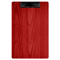Menu Solutions WDCLIP-A Berry 5 1/2 inch x 8 1/2 inch Customizable Wood Menu Clip Board / Check Presenter