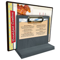 Menu Solutions WDMHS 3 inch x 7 inch Ash Wood Tabletop Menu Caddy with Clip