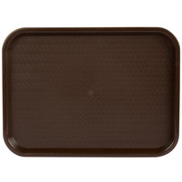Choice 12 inch x 16 inch Chocolate Brown Plastic Fast Food Tray - 12/Pack