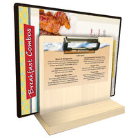 Menu Solutions WDMHS 3 inch x 7 inch Natural Wood Tabletop Menu Caddy with Clip