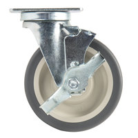 5 inch Swivel Plate Caster with Brake for Cambro Dish Dollies / Caddies