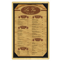 Menu Solutions WDPIX-A Natural 5 1/2 inch x 8 1/2 inch Customizable Wood Menu Board with Picture Corners