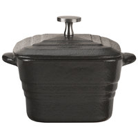 World Tableware CIS-26 7.5 oz. Mini Cast Iron Square Dutch Oven with Lid - 12/Case
