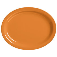 World Tableware VCO-12 Veracruz 9 3/4 inch x 7 1/2 inch Oval Cantaloupe Narrow Rim China Platter - 24/Case