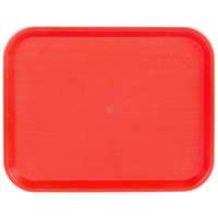 Choice 14 inch x 18 inch Red Plastic Fast Food Tray - 12/Pack