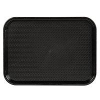 Choice 12 inch x 16 inch Black Plastic Fast Food Tray - 24/Case