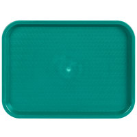Choice 12 inch x 16 inch Teal Plastic Fast Food Tray - 12/Pack