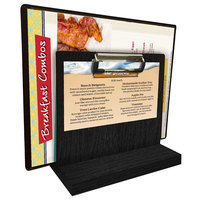 Menu Solutions WDMHS 3 inch x 7 inch Black Wood Tabletop Menu Caddy with Clip