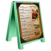 Menu Solutions WDSD-PIX-A 4 inch x 6 inch Washed Teal Wood Sandwich Menu Board Tent with Picture Corners