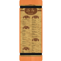 Menu Solutions WDRBB-BD Mandarin 4 1/4 inch x 14 inch Customizable Wood Menu Board with Rubber Band Straps