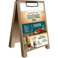 Menu Solutions WDSD-CL-B 5 inch x 7 inch Weathered Walnut Wood Sandwich Menu Board Tent with Clip