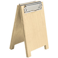 Menu Solutions WDSD-CL-A 4 inch x 6 inch Natural Wood Sandwich Menu Board Tent with Clip