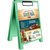 Menu Solutions WDSD-CL-B 5 inch x 7 inch Washed Teal Wood Sandwich Menu Board Tent with Clip