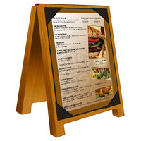 Menu Solutions WDSD-PIX-A 4 inch x 6 inch Country Oak Wood Sandwich Menu Board Tent with Picture Corners