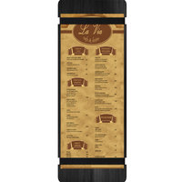Menu Solutions WDRBB-BD Black 4 1/4 inch x 14 inch Customizable Wood Menu Board with Rubber Band Straps