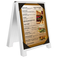 Menu Solutions WDSD-PIX-A 4 inch x 6 inch White Wash Wood Sandwich Menu Board Tent with Picture Corners