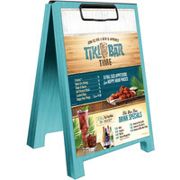 Menu Solutions WDSD-CL-B 5 inch x 7 inch Sky Blue Wood Sandwich Menu Board Tent with Clip