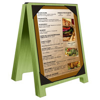 Menu Solutions WDSD-PIX-A 4 inch x 6 inch Lime Wood Sandwich Menu Board Tent with Picture Corners