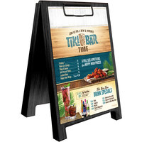 Menu Solutions WDSD-CL-B 5 inch x 7 inch Black Wood Sandwich Menu Board Tent with Clip