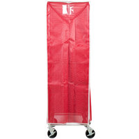 Curtron SUPRO-BM-R Red Supro Breathable Mesh Bun / Sheet Pan Rack Cover - 23 inch x 28 inch x 62 inch