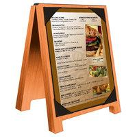 Menu Solutions WDSD-PIX-A 4 inch x 6 inch Mandarin Wood Sandwich Menu Board Tent with Picture Corners
