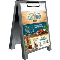 Menu Solutions WDSD-CL-B 5 inch x 7 inch Ash Wood Sandwich Menu Board Tent with Clip