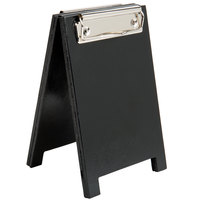 Menu Solutions WDSD-CL-A 4 inch x 6 inch Black Wood Sandwich Menu Board Tent with Clip