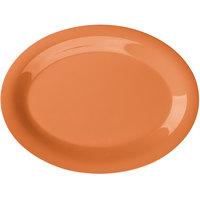 GET OP-120-PK Pumpkin Diamond Harvest 12 inch x 9 inch Oval Platter - 12/Case