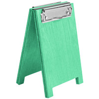 Menu Solutions WDSD-CL-A 4 inch x 6 inch Washed Teal Wood Sandwich Menu Board Tent with Clip