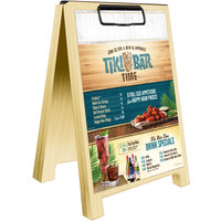 Menu Solutions WDSD-CL-B 5 inch x 7 inch Natural Wood Sandwich Menu Board Tent with Clip