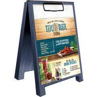 Menu Solutions WDSD-CL-B 5 inch x 7 inch Denim Wood Sandwich Menu Board Tent with Clip