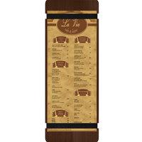 Menu Solutions WDRBB-BD Walnut 4 1/4 inch x 14 inch Customizable Wood Menu Board with Rubber Band Straps