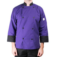 Mercer Culinary M60018PUBM Millennia Unisex 40 inch M Customizable Purple Double Breasted 3/4 Length Sleeve Cook Jacket with Traditional Buttons