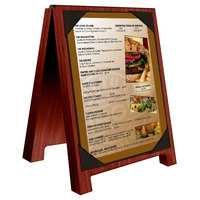 Menu Solutions WDSD-PIX-A 4 inch x 6 inch Mahogany Wood Sandwich Menu Board Tent with Picture Corners
