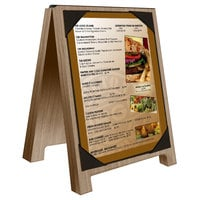 Menu Solutions WDSD-PIX-A 4 inch x 6 inch Weathered Walnut Wood Sandwich Menu Board Tent with Picture Corners