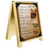 Menu Solutions WDSD-PIX-A 4 inch x 6 inch Natural Wood Sandwich Menu Board Tent with Picture Corners